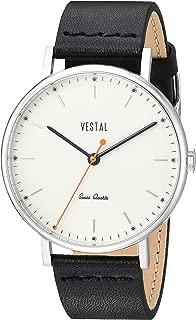 Vestal 'Sophisticate' Swiss Quartz Stainless Steel and Leather Dress Watch, Color:Black (Model: SP42L08.BK)