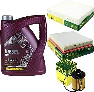 Filter Set Inspektionspaket 5 Liter MANNOL Motoröl Diesel TDI 5W 30 API SN/CF MANN FILTER Luftfilter Innenraumfilter Ölfilter