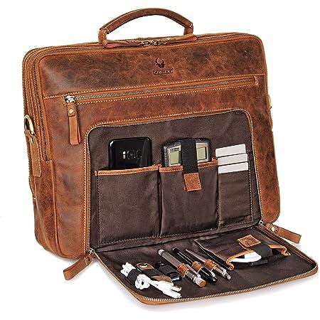 Leathario Herren Aktentasche Arbeitstasche Businesstasche Leder Herrentasche f/ür Arbeit Laptoptasche im Business mit Gro/ßer Kapazit/ät Braun
