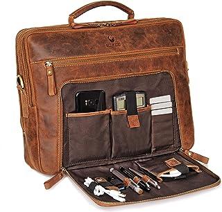 DONBOLSO Laptoptasche San Francisco 15,6 Zoll Leder I Umhängetasche für Laptop I Aktentasche für Notebook I Tasche für Damen und Herren Braun