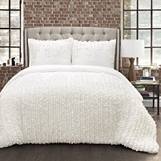 Lush Decor Ruffle Stripe Textured Ruched Shabby Chic Farmhouse 3 Piece Bedding Full Queen-White 3Piece Comforter Set