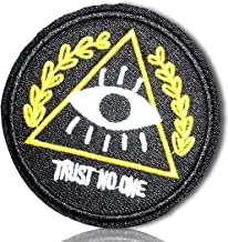 """Unique & Custom {2 1/4"""" Inch} 1 of [Glue-On, Iron-On & Sew-On] Embroidered Applique Patch Made of Natural Cotton w/Eye of Providence Patch Trust no One Illuminati {Black, Yellow, White} + Certificate"""