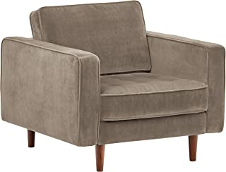 Amazon Brand – Rivet Aiden Tufted Mid-Century Modern Velvet Accent Chair, 35.4W, Otter Grey