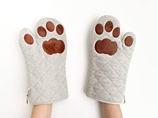 Cricket & Junebug Oven Mitts Cat Paws - Grey and Brown