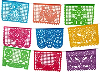Paper Full of Wishes I Medium Plastic Day of The Dead Papel Picado Banner I Un Dia de Memoria I Decorations for Dia De Los Muertos I 12 Multi-Color Panels I 15 Ft Long Hanging