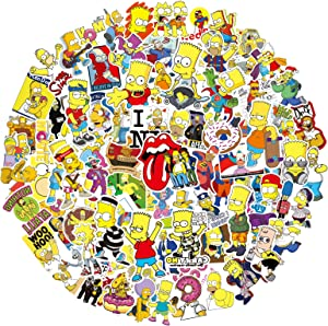 Vinyl Stickers for Kids Adults 100 PCS Vinyl Decals Waterproof Simpsons Personality Cute Stickers for Cups Suitcase Water Bottle Laptop Cars (New Simpson)