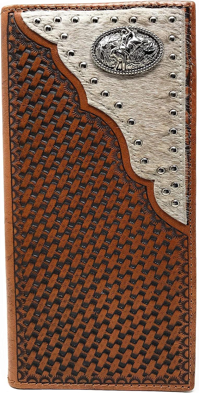Western Genuine Leather Cowhide Cow fur Basketweave Rodeo Men's Long Bifold Wallet in 3 colors (Brown) (Brown)