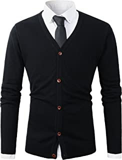 Mens Casual Slim Fit Basic Designed Button Down V-Neck Cardigan