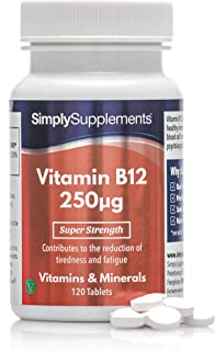 Vitamina B12 250mcg - Apto para veganos - ¡Bote para 4 meses! - 120 comprimidos - SimplySupplements