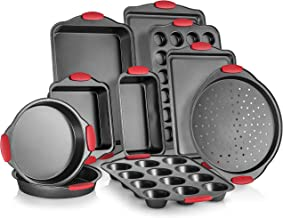 Perlli 10-Piece Nonstick Carbon Steel Bakeware Set With Red Silicone Handles | |Metal, Reusable, Quality Kitchenware For C...