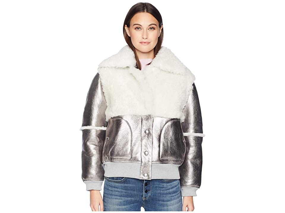 See by Chloe Metallic Shearling Jacket (Greyish Brown) Women