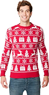 New Camp Ltd Christmas Xmas 2018 Mens Jumper Novelty Fairisle Santa Party Sweater Jumper Womens Unisex RED Fairisle PRESEN...