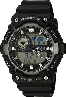 Casio Men's 'Super Illuminator' Quartz Resin Casual Watch, Color:Black (Model: AEQ-200W-1AVCF)