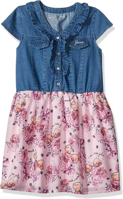 GUESS Girls' Little Short Sleeve Floral Denim Two-fer Dress