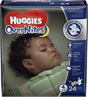 HUGGIES OverNites Diapers, Size 4, 24 ct., JUMBO PACK Overnight Diapers (Packaging May Vary)