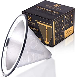 Sponsored Ad – Apace Living Pour Over Coffee Filter - Wide Metal Base Reusable Stainless Steel Coffee Dripper - Perfect fo...