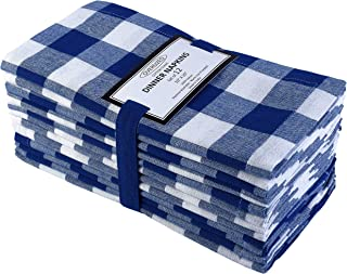 Cotton Clinic 20x20 Gingham Buffalo Check Cloth Dinner Napkins Pack of 12, 100% Cotton Cocktail Napkins, Wedding Dinner Napkins with Mitered Corners and Generous Hem - Navy White