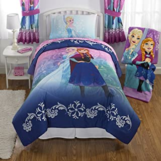 NEW! Disney Frozen Full Size Nordic Frost Bedding Set Made of 100% Polyester with Reversible Comforter, Flat Sheet, Fitted Sheet and Pillowcase