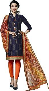 Maroosh Women'S Cotton Fabric Blue Color Chudidar Free Size Dress Material