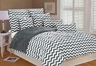 MARLO LORENZ 4892Chevron Microplush Comforter Set, Plateado, Matrimonio
