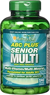 Puritans Pride Abc Plus Senior Multivitamin Multi-mineral Formula Caplets, 240 Count