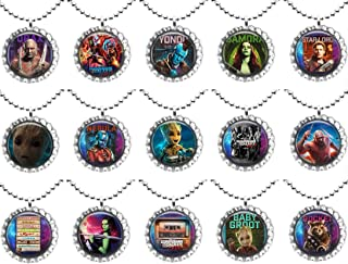 15 GUARDIANS OF THE GALAXY VOL.2 Flat Bottle Cap Necklaces for Birthday, Party Favors, Bag Fillers
