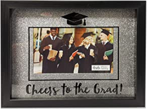 PRINZ Graduation 2020 Silver Background Cheers to The Grad 4 x 6-inch Photo Opening Glitter Shadowbox Picture Frame, Gray
