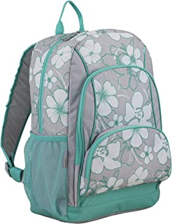 Multi Pocket School Backpack, Turquoise/Soft Silver Gray/Hibiscus Print