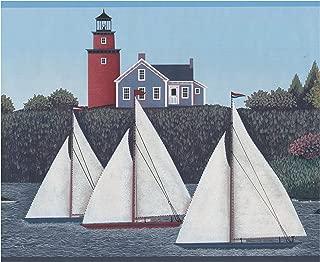 Retro Village on the River Sailboats Lighthouse Nautical Wallpaper Border Vintage Design, Roll 15' x 9.25''