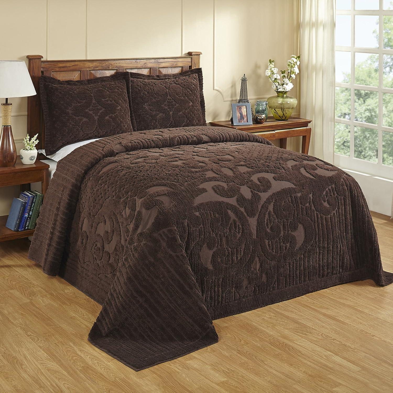 Better Trends  Pan Overseas BSASKICH Ashton Bedspread Chocolate 120 x 110  King