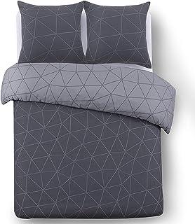 Vision Housse de Couette réversible - Hugo Anthracite - 240x220cm avec 2 taies d'oreiller - 100% Coton