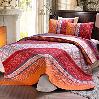 Exclusivo Mezcla 100% Cotton 3-Piece Exotic Boho Queen Size Quilt Set as Bedspread/Coverlet/Bed Cover/Comforter- Lightweight, Reversible& Decorative