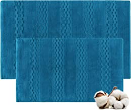 Cotton Bath Rugs Water Absorbent Stripe Design Bathmat Set of 2 (Size 21x34/17x24 Color Teal)