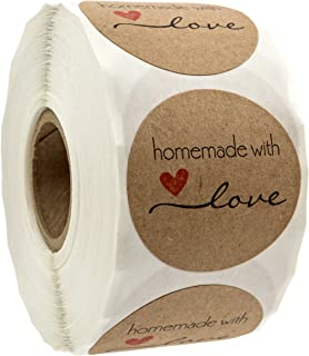 """1.5"""" Inch Round Natural Kraft Homemade with Love Stickers / 500 Labels per roll"""