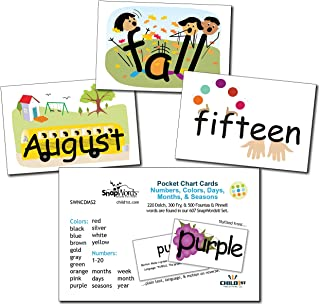 SnapWords Numbers, Colors, Days, Months, and Seasons Pocket Chart Cards - Sight Words