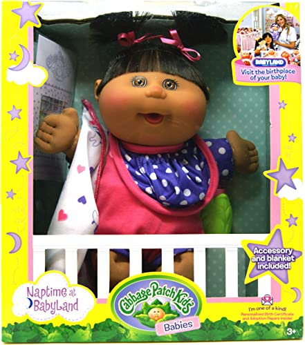 Cabbage Patch Kids Babies - Napetime at Babyland - African-American Baby Girl Doll with Rosa Jumper 12.5 inch   ca. 32 cm