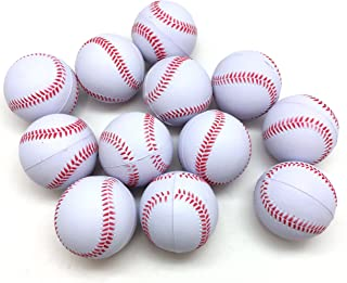 """PEPPERLONELY 12PC/Pack White Baseball Sports Stress Ball, Squeeze Balls for Stress Relief, Party Favors, Ball Games and Prizes, Stocking Stuffers, 3"""""""