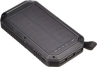 MADMAX ソーラー充電搭載 モバイルバッテリー 8000ml USB3ポート スマートフォン 置くだけ充電機能付き LEDライト ブラック MM50-0453-BK