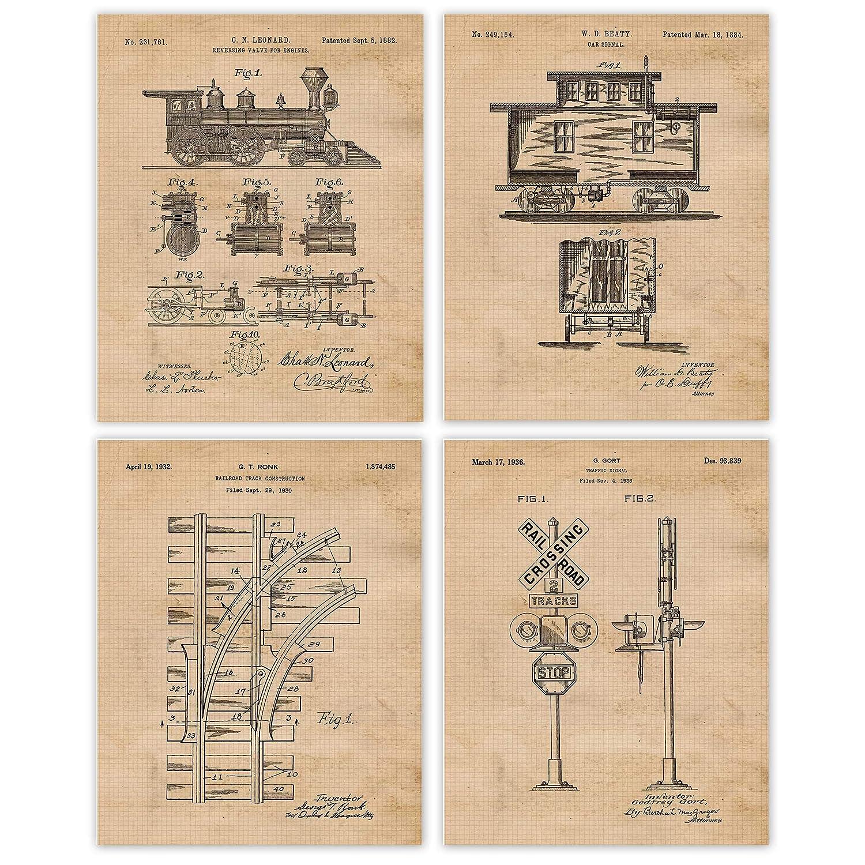 Vintage Railroad Train Patent Prints, Set of 4 (8x10) Unframed P