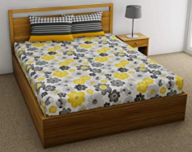 Loreto - A Quality Linen Brand 144 TC 100% Cotton Double Bedsheet with 2 Pillow Covers - Yellow & Grey, Floral