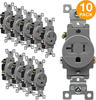 ENERLITES Single Receptacle Outlet, Tamper-Resistant, Commercial Grade, 3-Wire, Grounding Screw, 2-Pole, 5-20R, 20A 125V, UL Listed, 61200-TR-GY-10PCS, Gray (10 Pack)