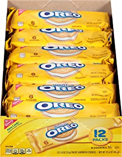 Oreo Golden Sandwich Cookies - Snack Packs, 12 Count Tray, 21.6 Ounce