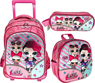 3D LOL SURPRISE SCHOOL BAG TROLLEY WITH BACKPACK FOR KIDS GIRL INCLUDE LUNCH BAG AND PENCIL CASE | 15 INCH
