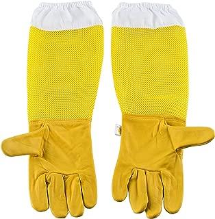 HunterBee Yellow bee Beekeeper Beekeeping Protection Gloves - Hood and Glove Goatskin Vented Glove