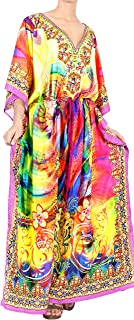 Women's Maxi Summer Caftan Outfit Casual Dress Cover Ups Drawstring