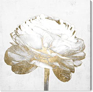 The Oliver Gal Artist Co. Fashion and Glam Wall Art Canvas Prints 'White Love Peony Gold' Home Décor, 12 x 12,
