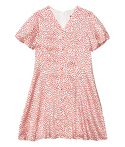 Milly Minis Heart Print On Silk CDC Aspen Dress (Big Kids) (Red Multi) Girl