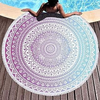 Bonsai Tree Mandala Beach Towel, Indian Hippie Boho Large Round Beach Towel with Tassels, Purple Bohemian Beach Blanket Sa...