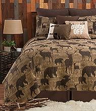 C&F Home Elwood King Quilt Set Oversized Reversible Lodge Rustic Elk Moose Bear Bedspread Bedding Coverlet 3 Piece with Shams King 3 Piece Set Brown