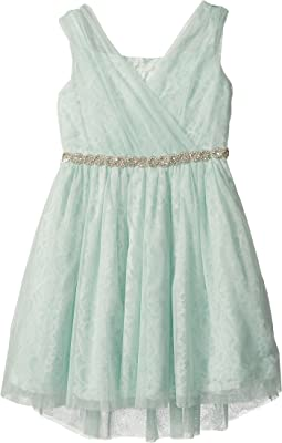 Us Angels Sleeveless Wrap Front Bodice w/ High-Low Skirt (Big Kids)
